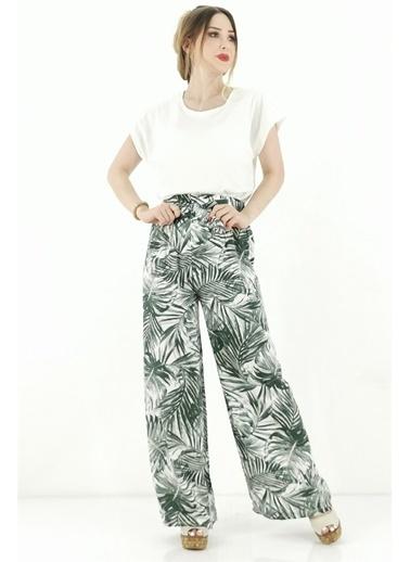 Butikburuç Desenli Kadın Pantolon - Yeşil Yeşil